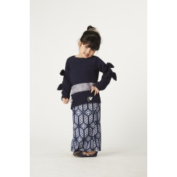 Mon Bebe Kurung Set in Dark Blue