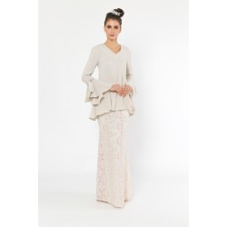 Mon Cherie Kurung in Light Beige and Pink