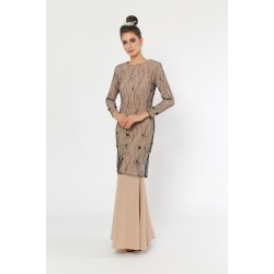 Mon Coco Modern Kurung in Nude and Black