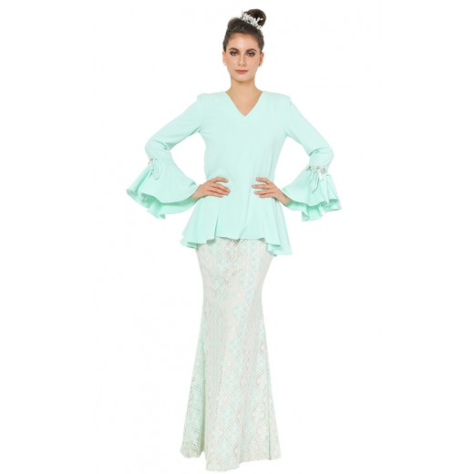 Je t'dore Kurung in Mint Green